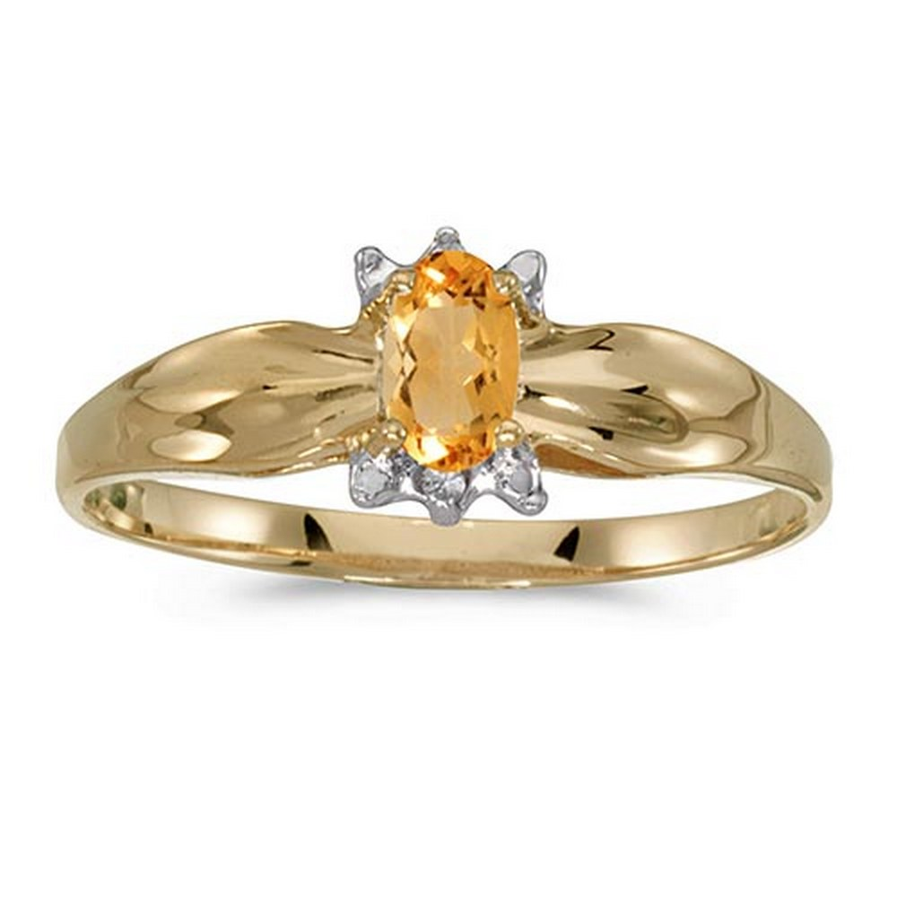 Certified 10k Yellow Gold Oval Citrine And Diamond Ring #PAPPS51293