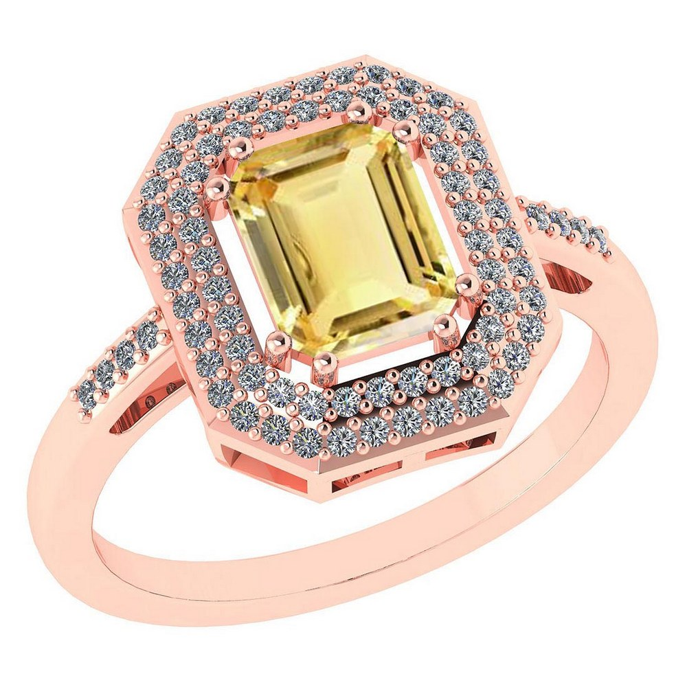 Certified 2.12 Ctw Citrine And Diamond 14k Rose Gold Halo Ring #PAPPS95296