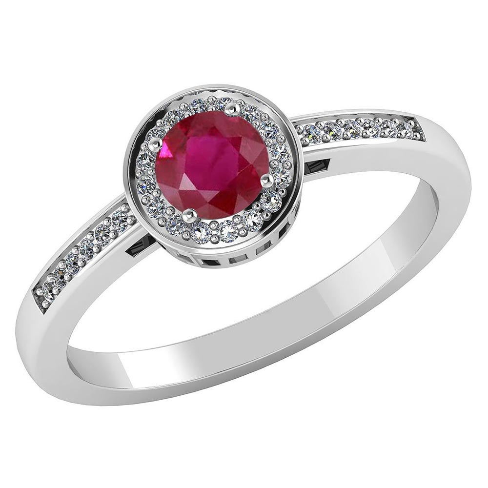 Certified 1.20 CTW Genuine Ruby And Diamond 14K White Gold Ring #PAPPS91620