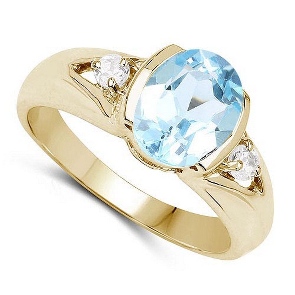 2.70 CTW Bule Topaz And Diamond 14K Rose Gold Ring #PAPPS90528