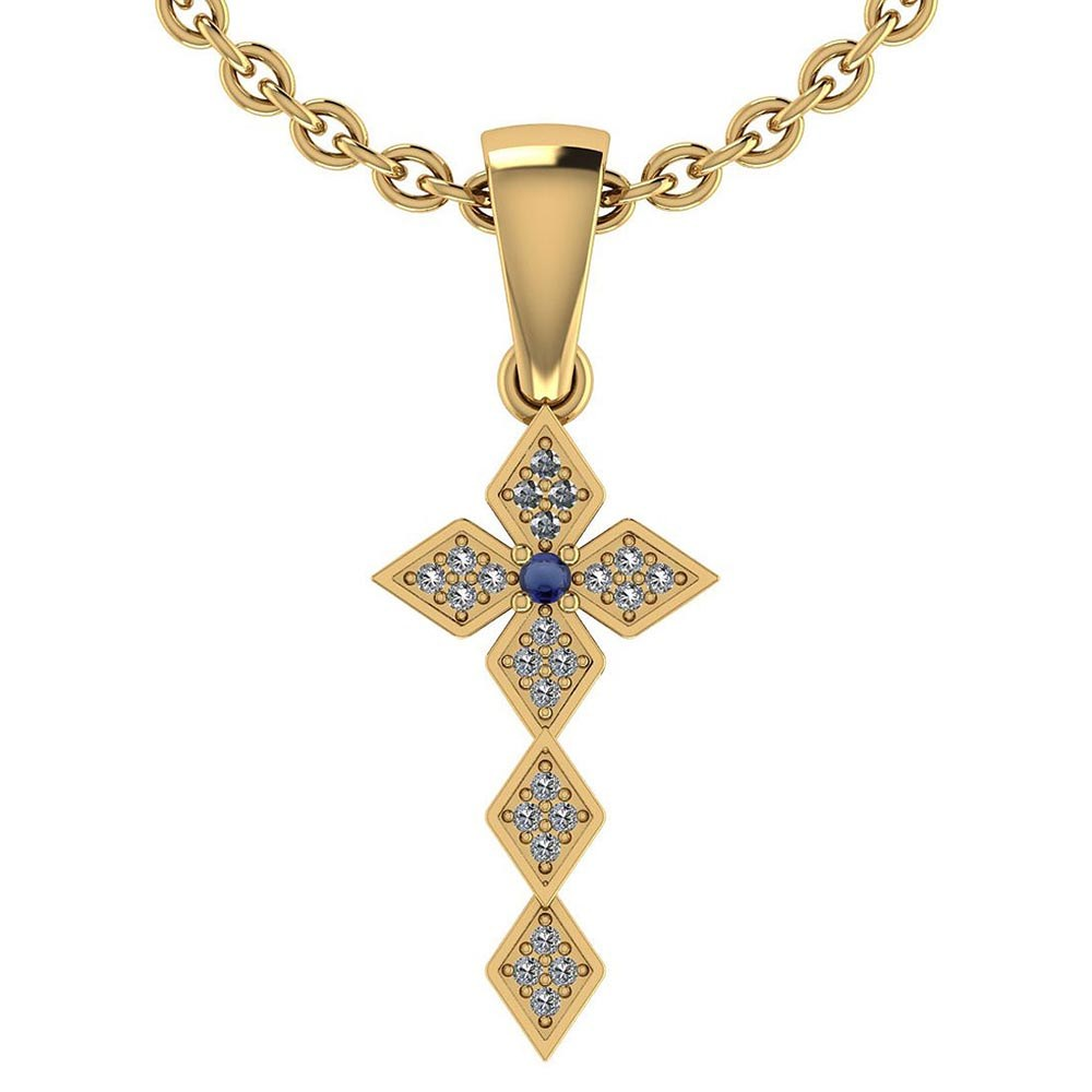 Certified 0.068 Ctw Blue Sapphire And Diamond 14k Rose Gold Halo Pendant #PAPPS95436