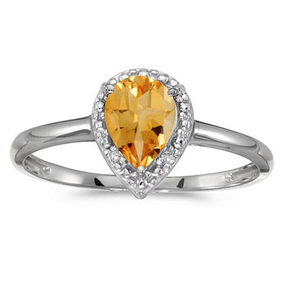 Certified 10k White Gold Pear Citrine And Diamond Ring #PAPPS51437
