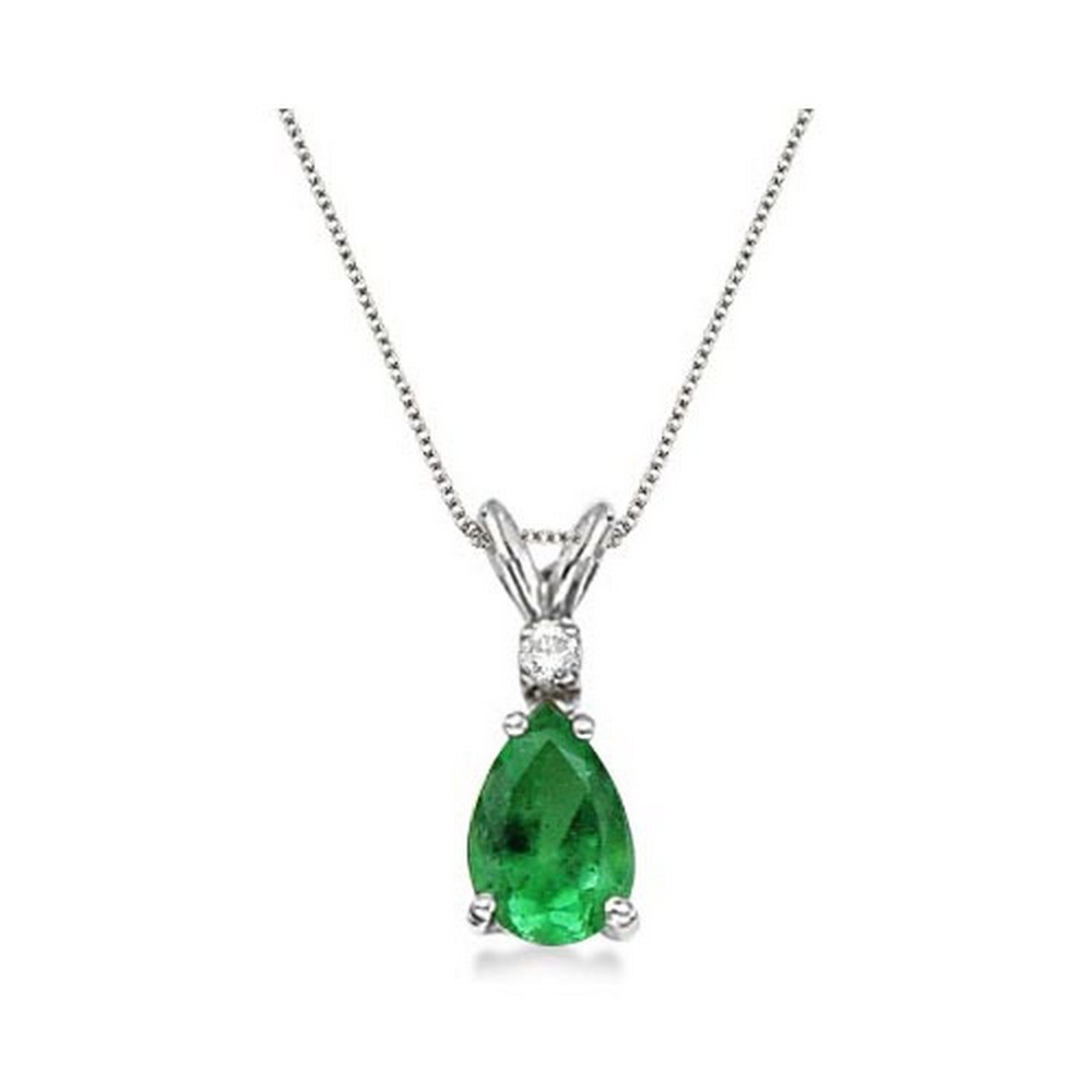 Pear Emerald and Diamond Solitaire Pendant Necklace 14k White Gold #PAPPS21367