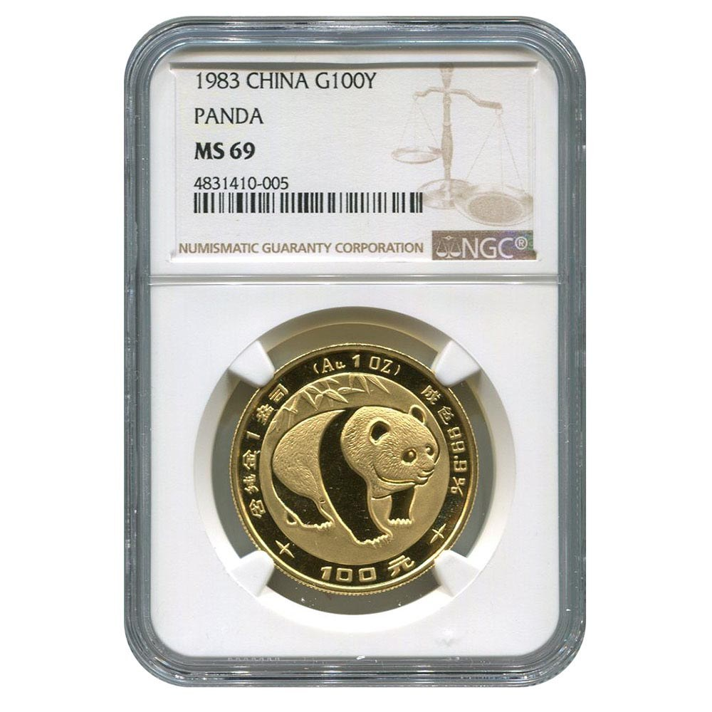 Certified One Ounce Chinese Gold Panda 1983 100 Yuan MS69 NGC #PAPPS95658
