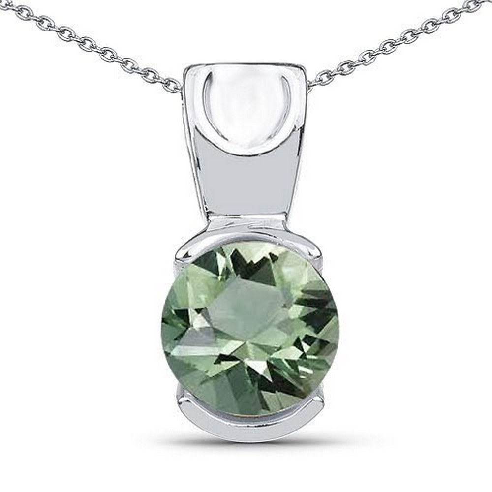 Certified 1.20 CTW Genuine Green Amethyst 14K White Gold Pendant #PAPPS90903