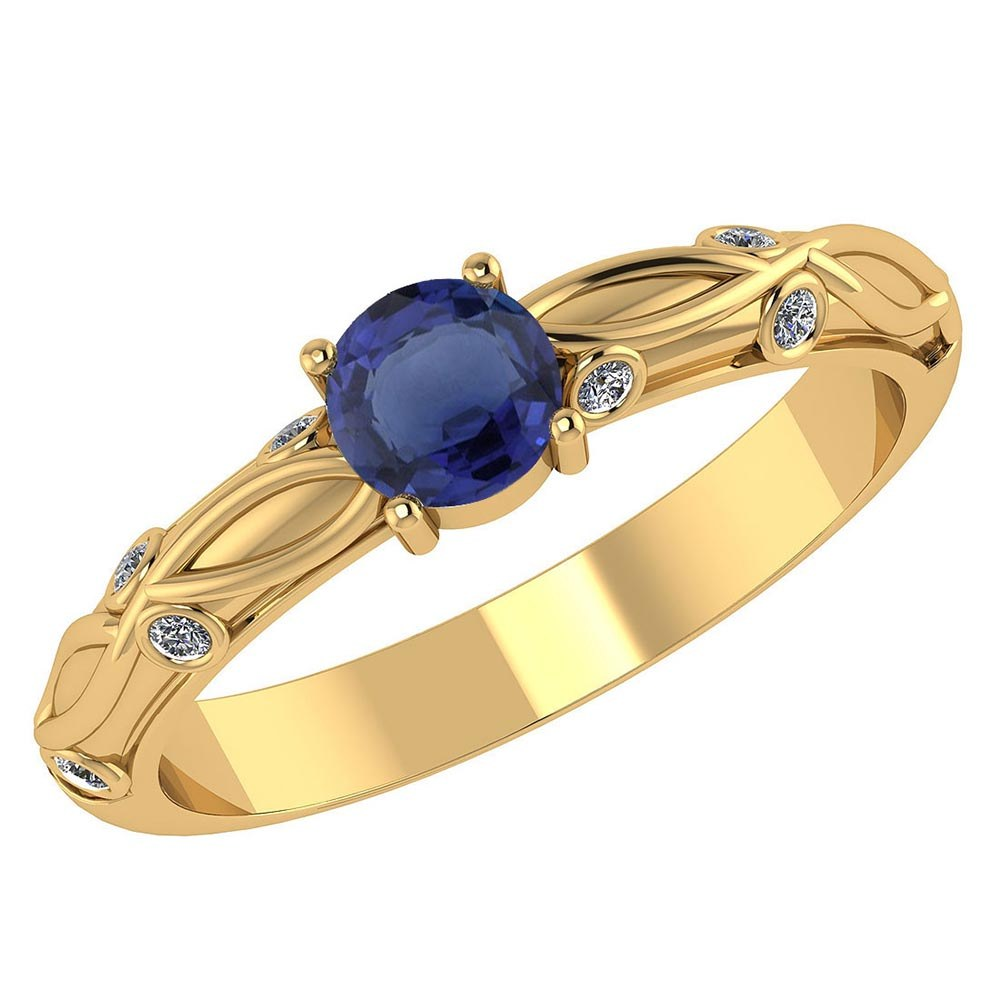 Certified 1.00 CTW Genuine Blue Sapphire And Diamond 14K Yellow Gold Ring #PAPPS91651