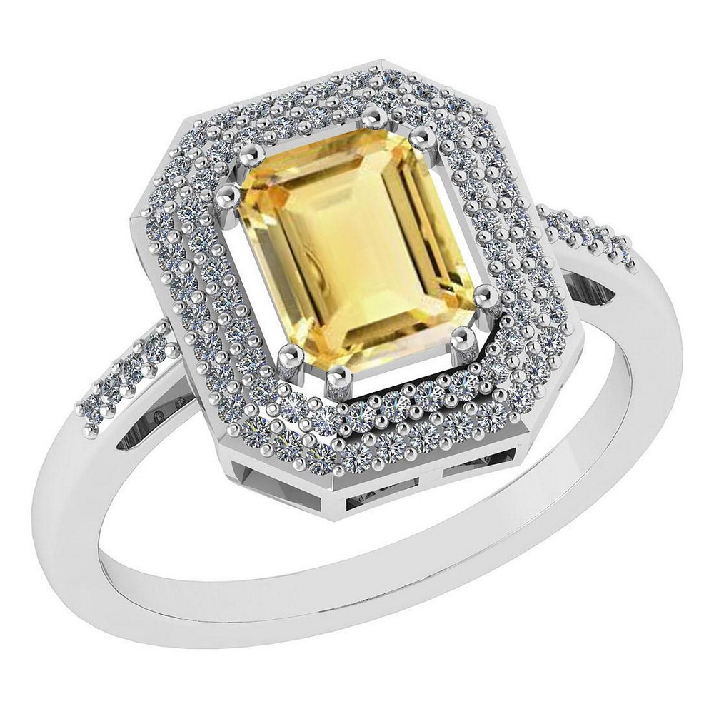Certified 2.12 Ctw Citrine And Diamond 14k Yellow Gold Halo Ring #PAPPS95307