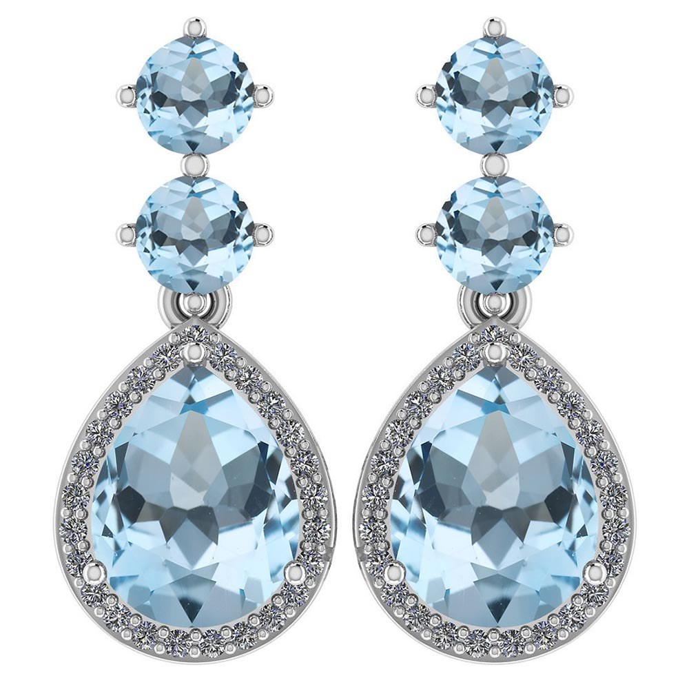 Certified 5.17 Ctw Aquamarine And Diamond 14k White Gold Halo Dangling Earrings #PAPPS95362