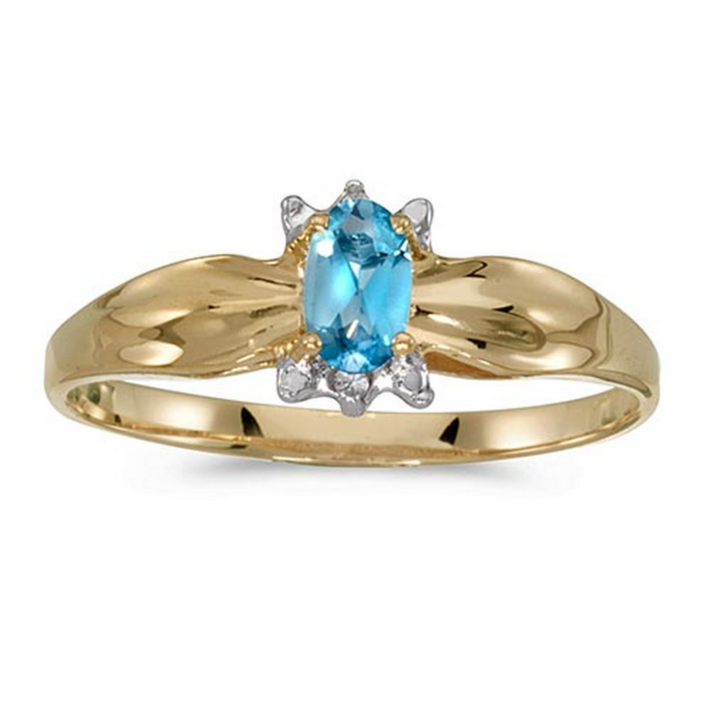 Certified 10k Yellow Gold Oval Blue Topaz And Diamond Ring #PAPPS51276