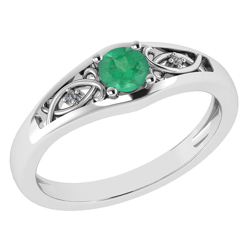 Certified 0.37 Ctw Emerald And Diamond 14k White Gold Halo Ring #PAPPS95461