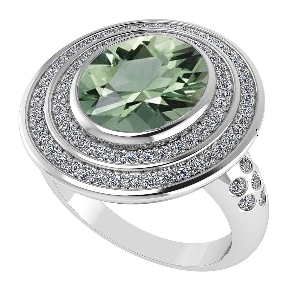 Certified 3.80 CTW Genuine Green Amethyst And Diamond 14K White Gold Ring #PAPPS91600
