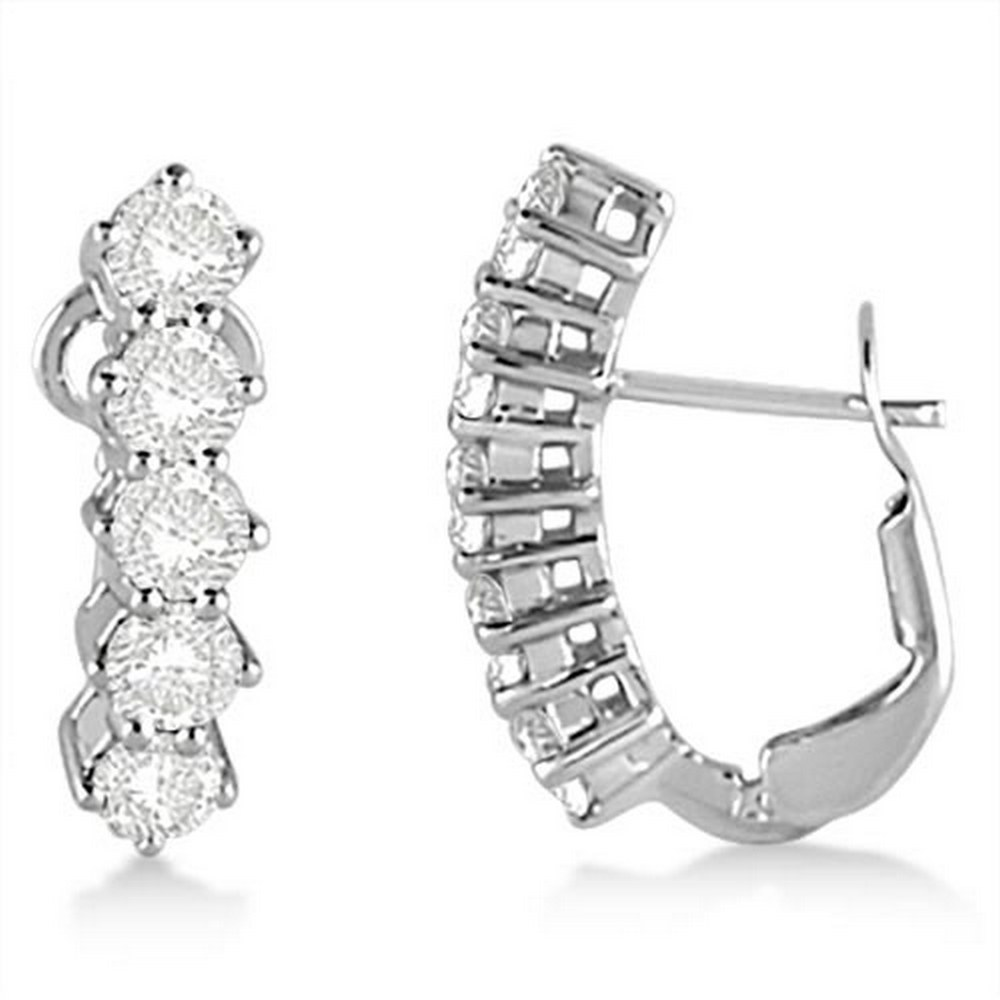 Five Stone Diamond Omega Earrings 14k White Gold (1.50ct) #PAPPS21334