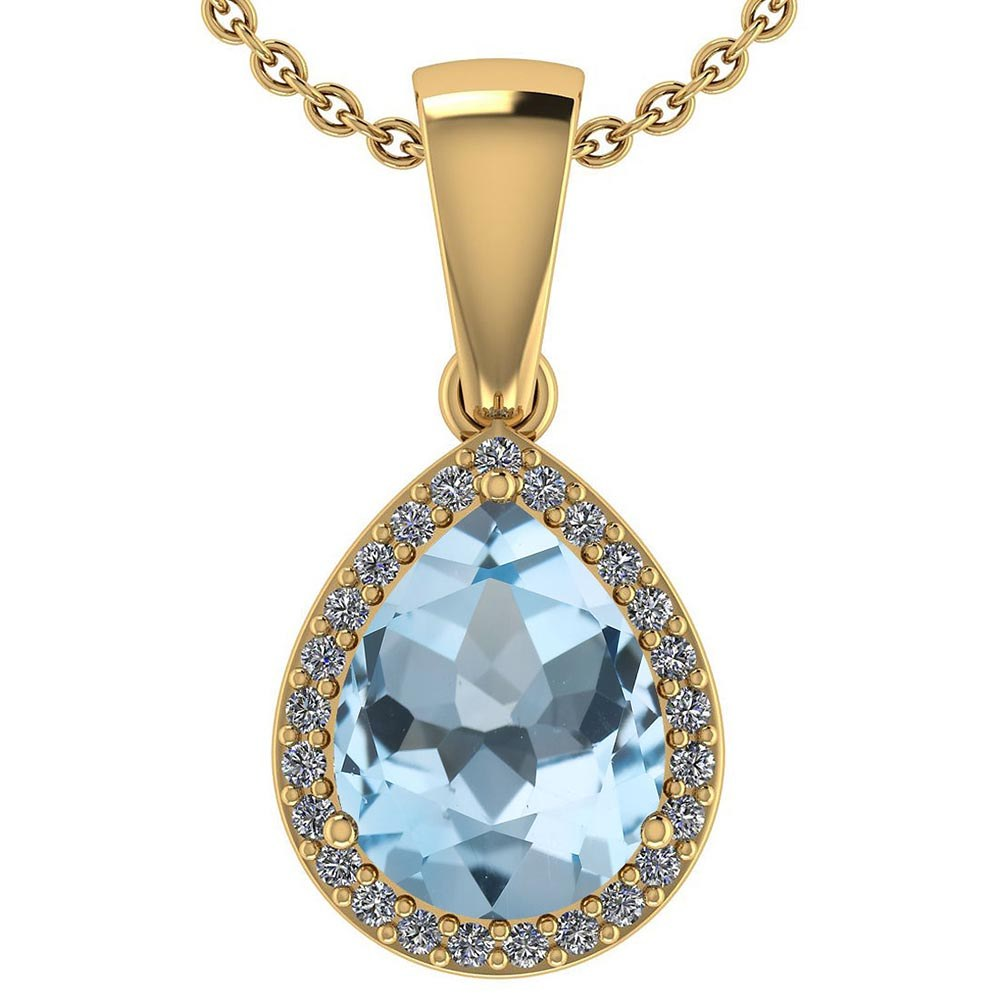 Certified 2.12 Ctw Blue Topaz And Diamond 14k Yellow Gold Halo Pendant #PAPPS95384