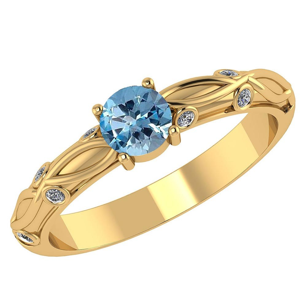 Certified 1.00 CTW Genuine Aquamarine And Diamond 14K Yellow Gold Ring #PAPPS91660