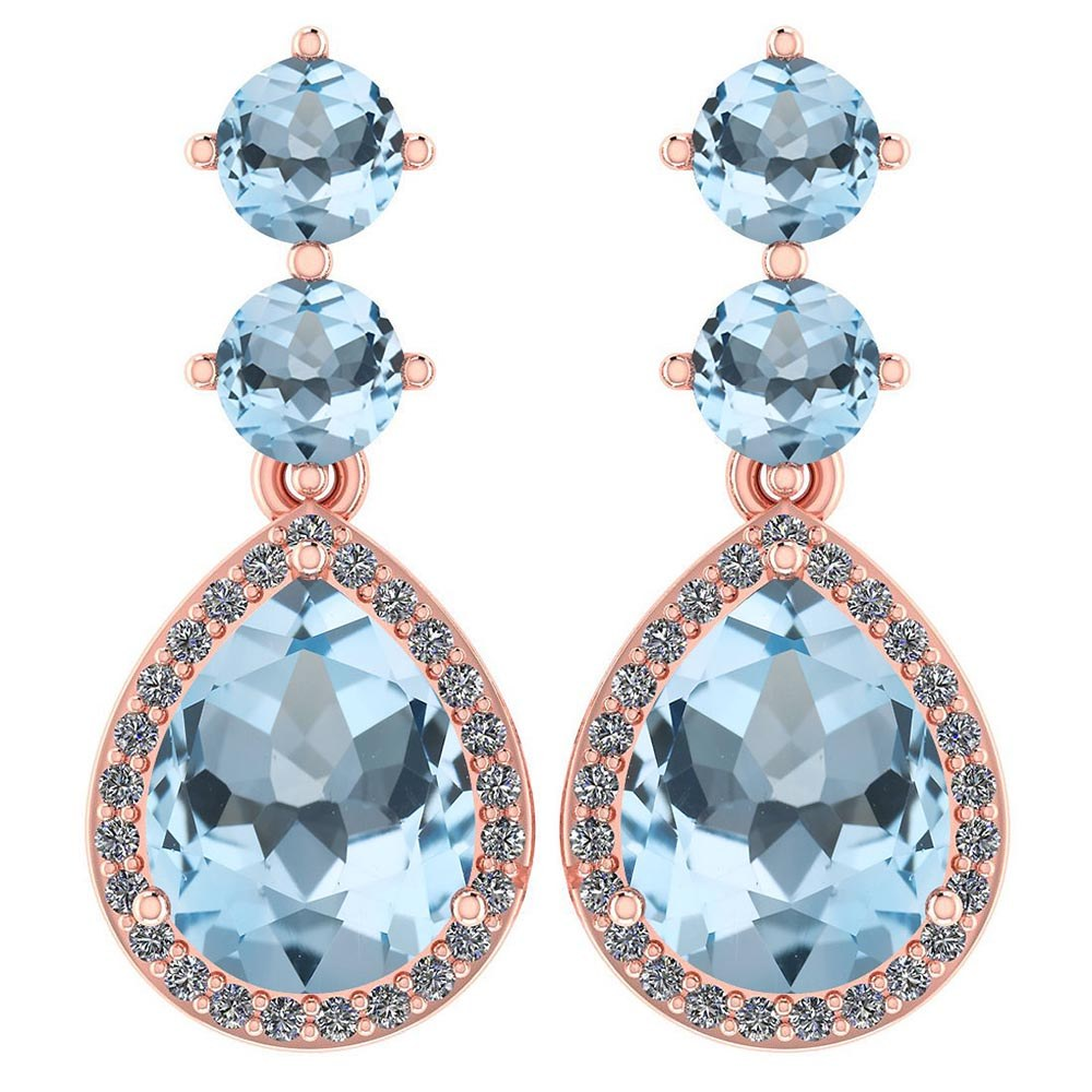 Certified 5.17 Ctw Aquamarine And Diamond 14k Rose Gold Halo Dangling Earrings #PAPPS95351