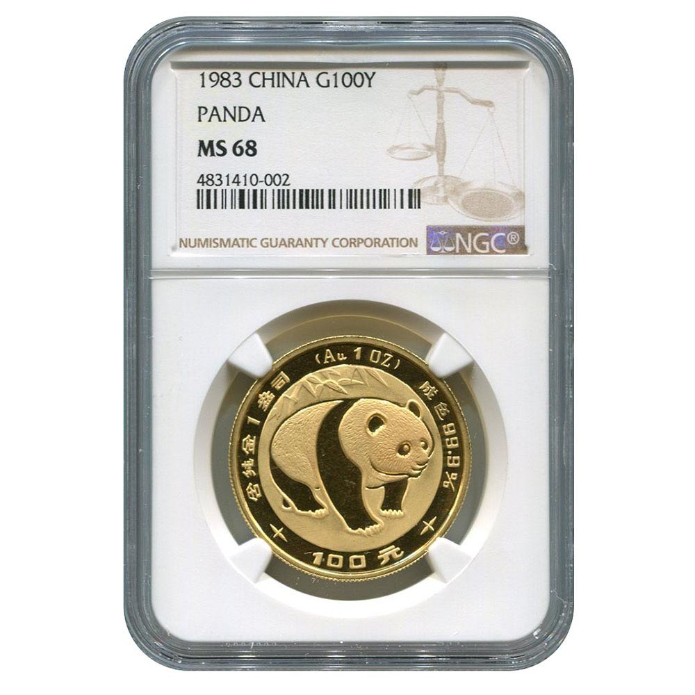 Certified One Ounce Chinese Gold Panda 1983 100 Yuan MS68 NGC #PAPPS95659