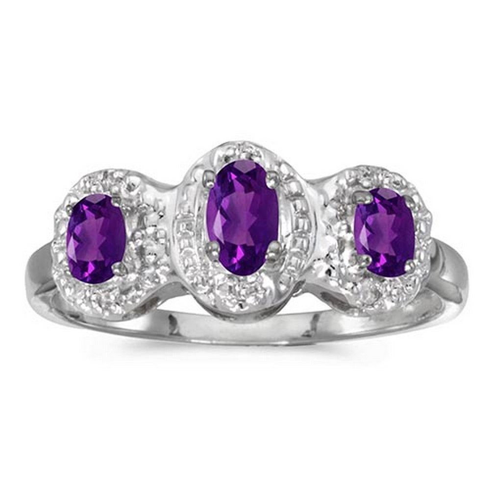 Certified 10k White Gold Oval Amethyst And Diamond Three Stone Ring #PAPPS51447