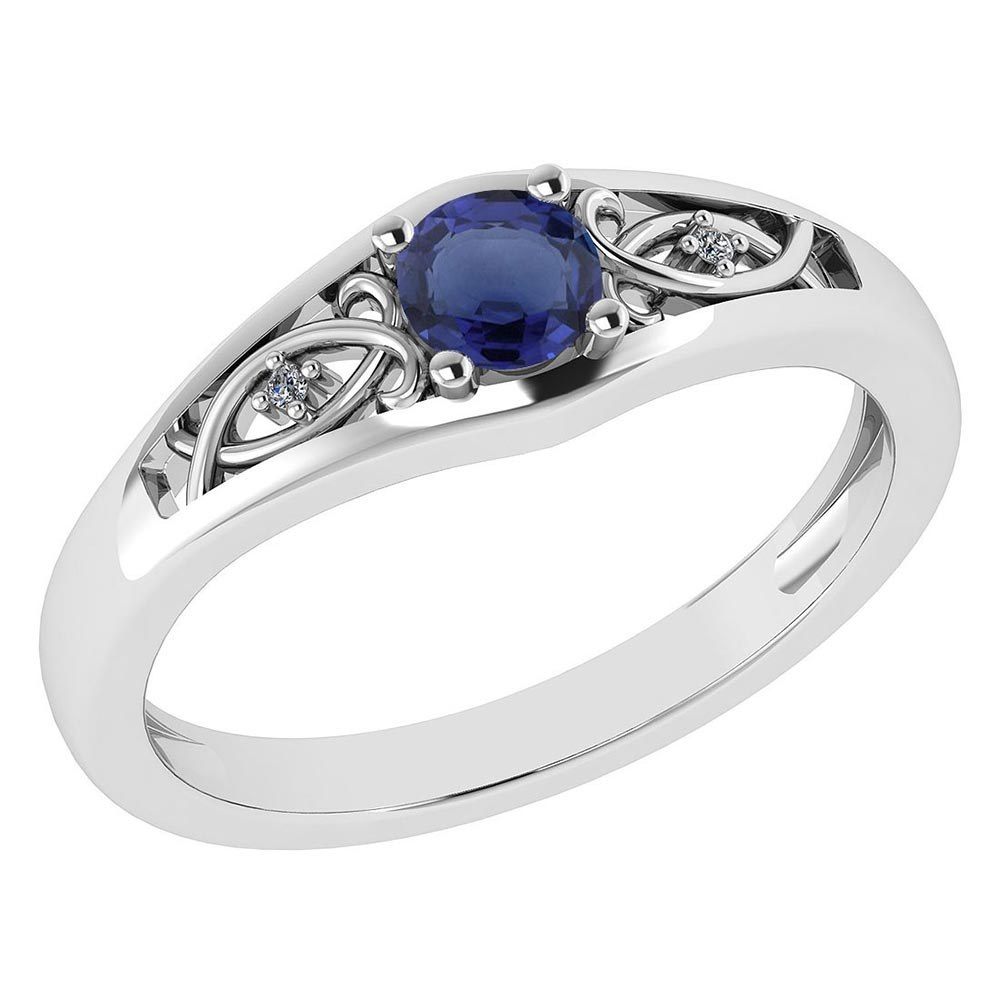 Certified 0.37 Ctw Blue Sapphire And Diamond 14k White Gold Halo Ring #PAPPS95458