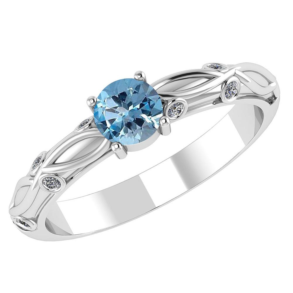 Certified 1.00 CTW Genuine Aquamarine And Diamond 14K White Gold Ring #PAPPS91649