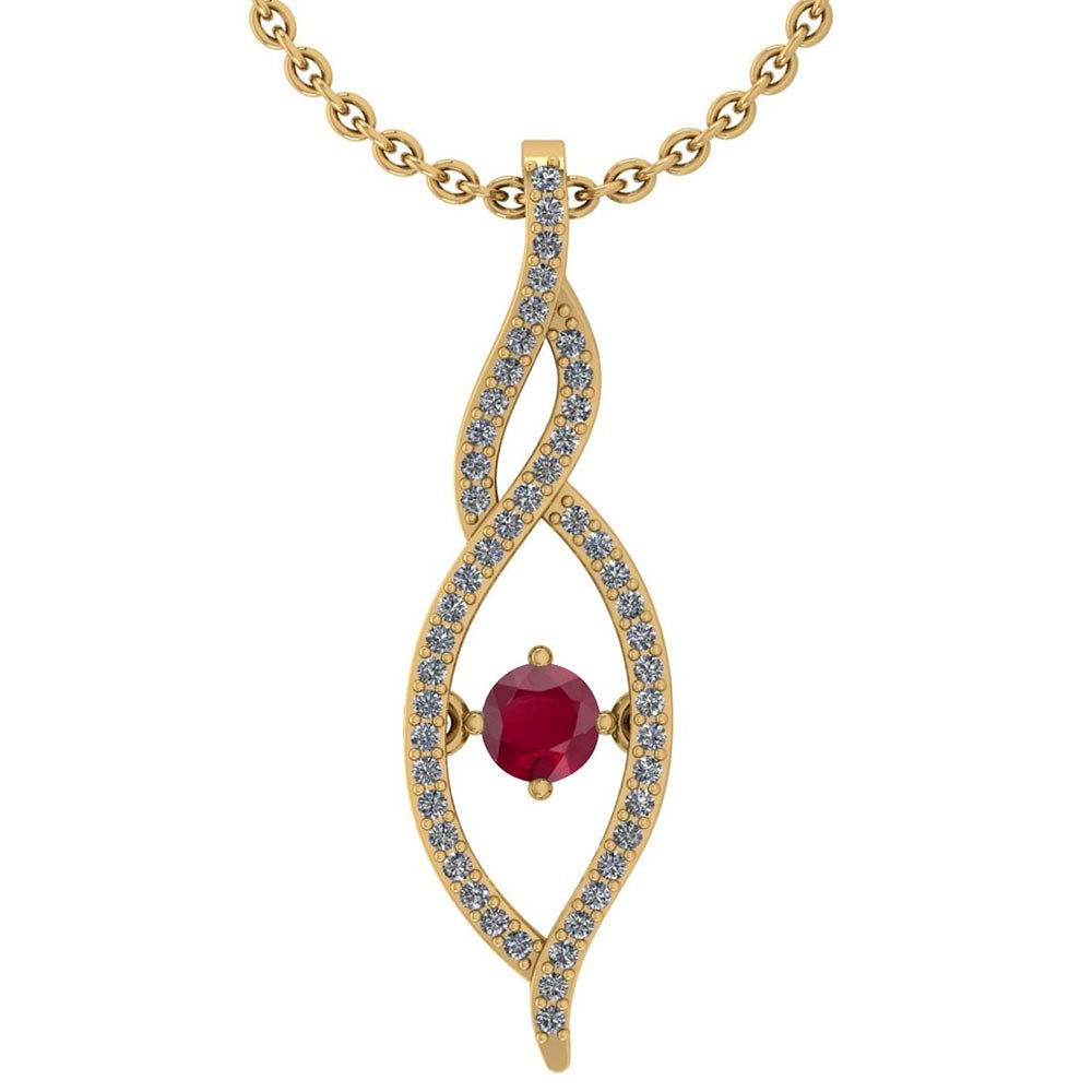 Certified 0.47 Ctw Ruby And Diamond 14k Yellow Gold Pendant VS-SI1 #PAPPS95337