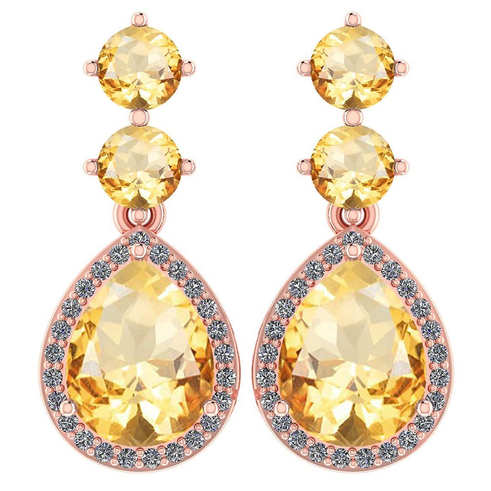 Certified 5.17 Ctw Citrine And Diamond 14k Rose Gold Halo Dangling Earrings #PAPPS95355