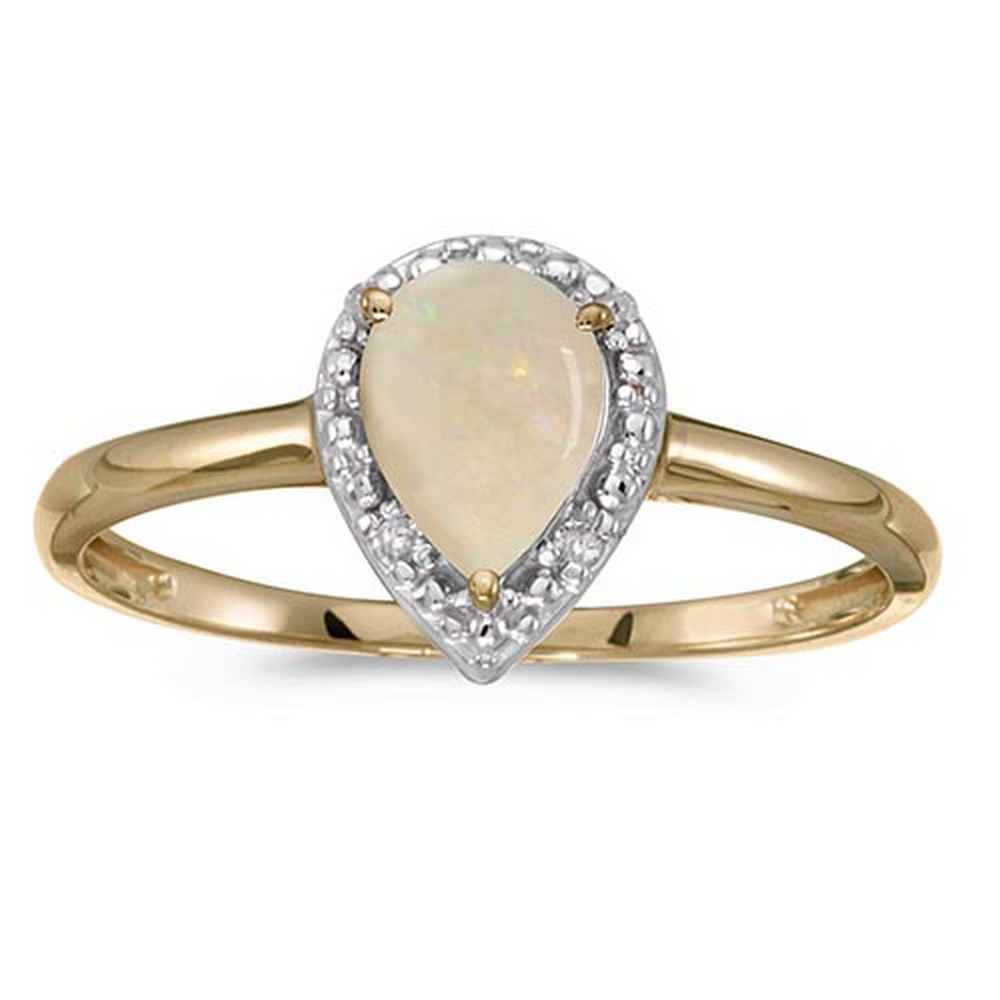 Certified 14k Yellow Gold Pear Opal And Diamond Ring #PAPPS51396