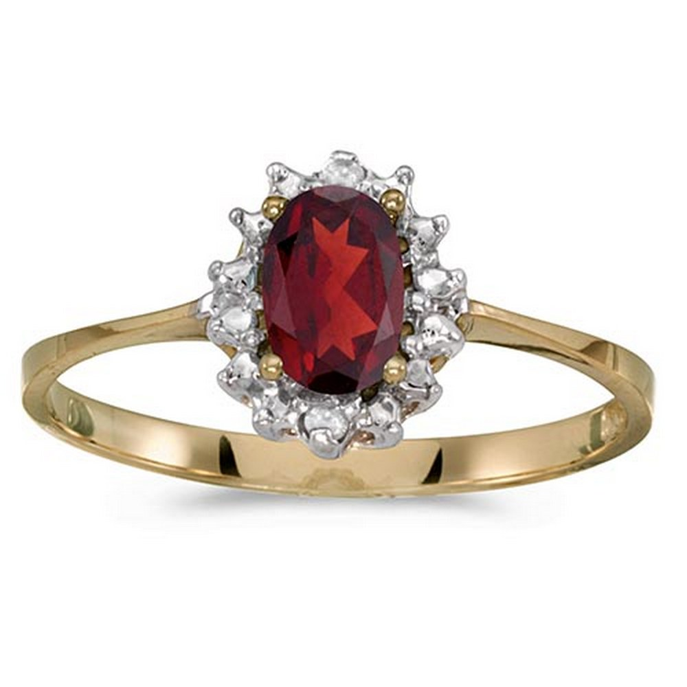 Certified 14k Yellow Gold Oval Garnet And Diamond Ring #PAPPS51246