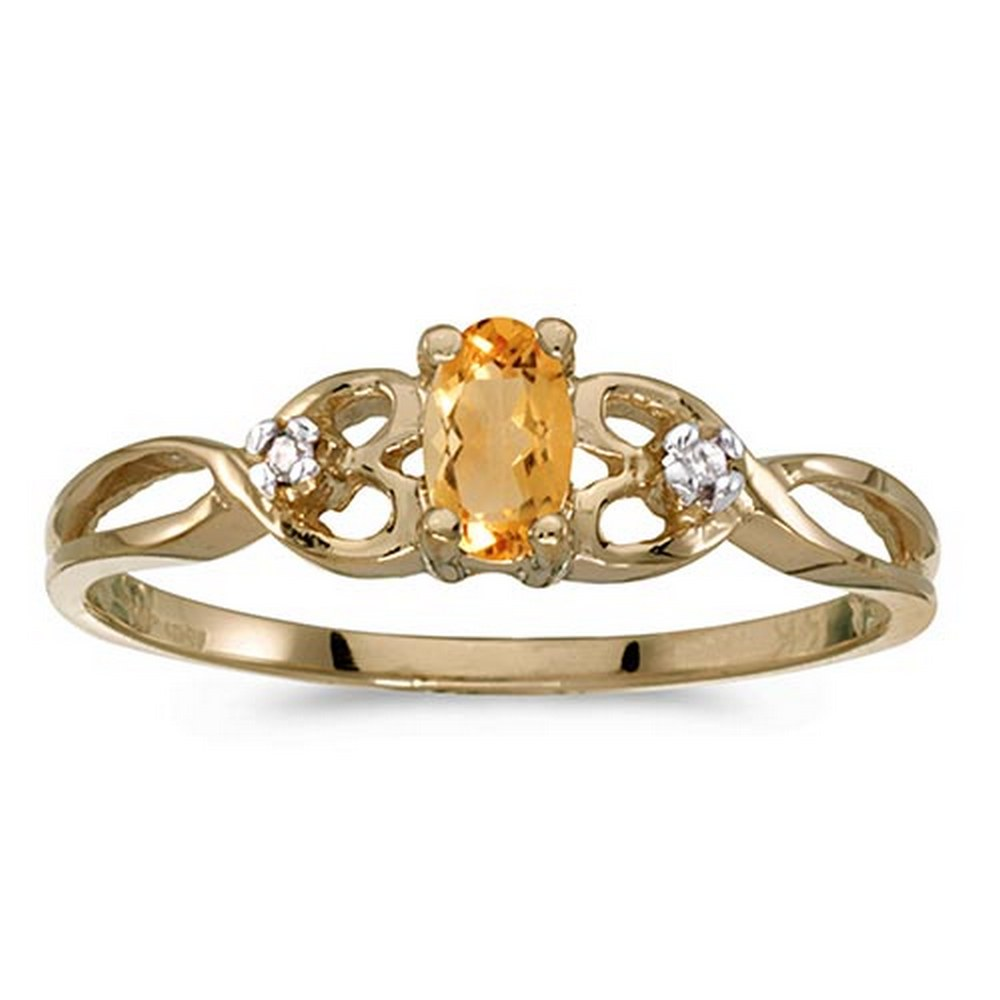 Certified 14k Yellow Gold Oval Citrine And Diamond Ring #PAPPS51405