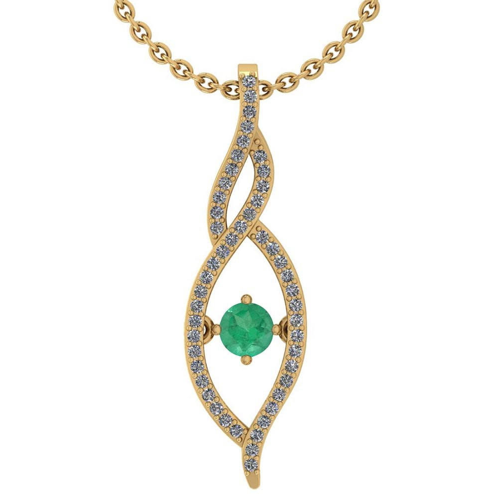 Certified 0.47 Ctw Emerald And Diamond 14k Yellow Gold Pendant VS-SI1 #PAPPS95338