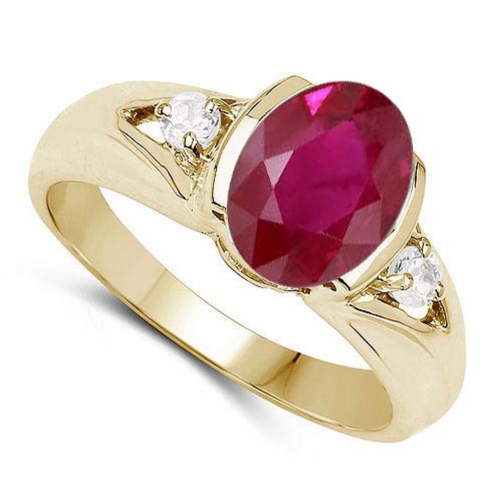 2.70 CTW Genuine Ruby And Diamond 14K RoseGold Ring #PAPPS90523