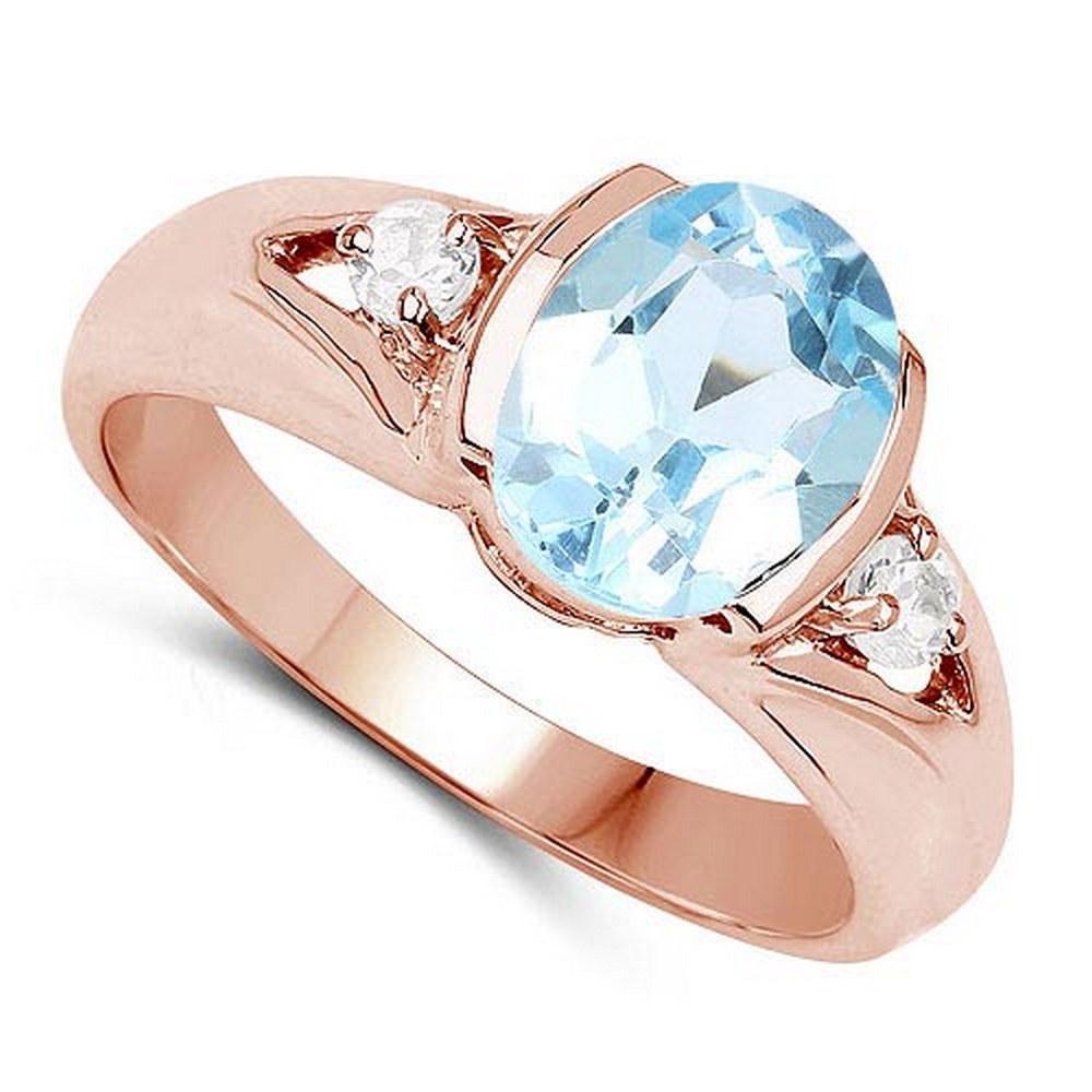 2.70 CTW Bule Topaz And Diamond 14K Yellow Gold Ring #PAPPS90539