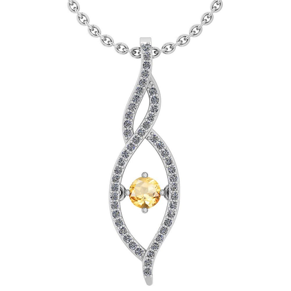 Certified 0.47 Ctw Citrine And Diamond 14k White Gold Pendant VS-SI1 #PAPPS95318
