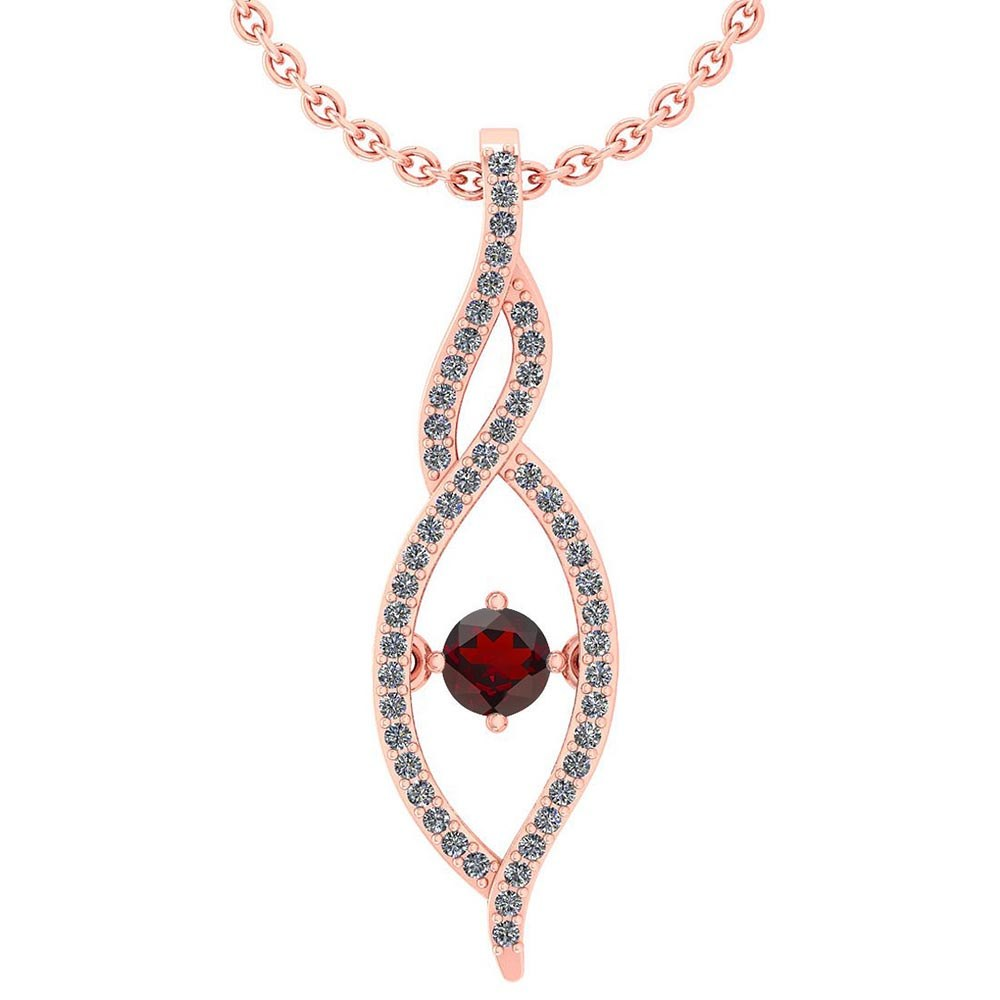 Certified 0.47 Ctw Garnet And Diamond 14k Rose Gold Pendant VS-SI1 #PAPPS95332