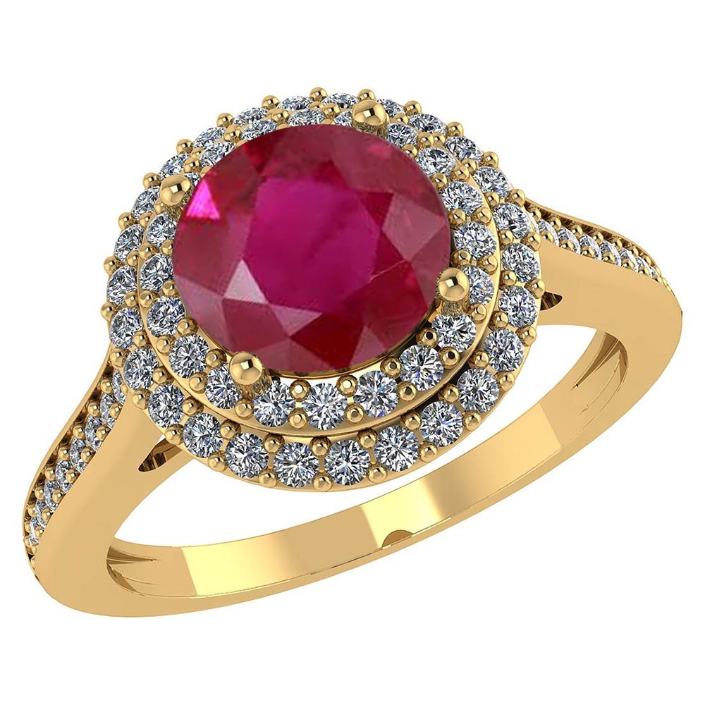 Certified 2.92 CTW Genuine Ruby And Diamond 14K Yellow Gold Ring #PAPPS91534