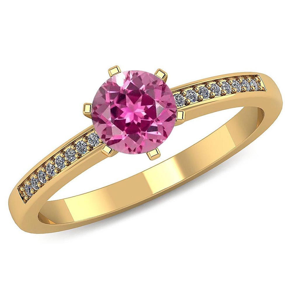 Certified 1.00 CTW Genuine Pink Tourmaline And Diamond 14K Yellow Gold Ring #PAPPS91471