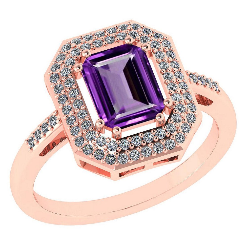 Certified 2.12 Ctw Amethyst And Diamond 14k Rose Gold Halo Ring #PAPPS95294