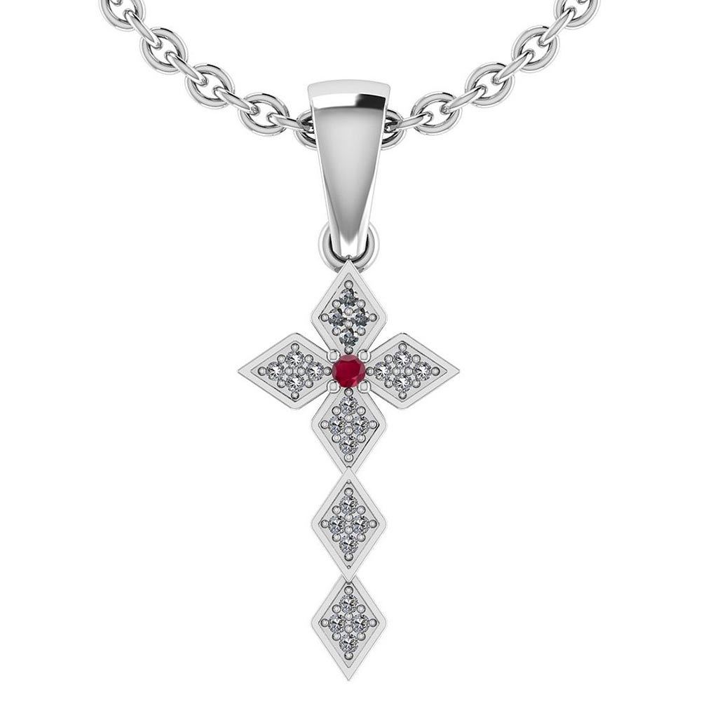 Certified 0.068 Ctw Ruby And Diamond 14k White Gold Halo Pendant #PAPPS95427