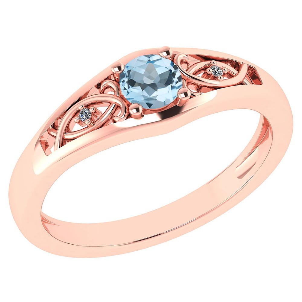 Certified 0.37 Ctw Aquamarine And Diamond 14k Rose Gold Halo Ring #PAPPS95473