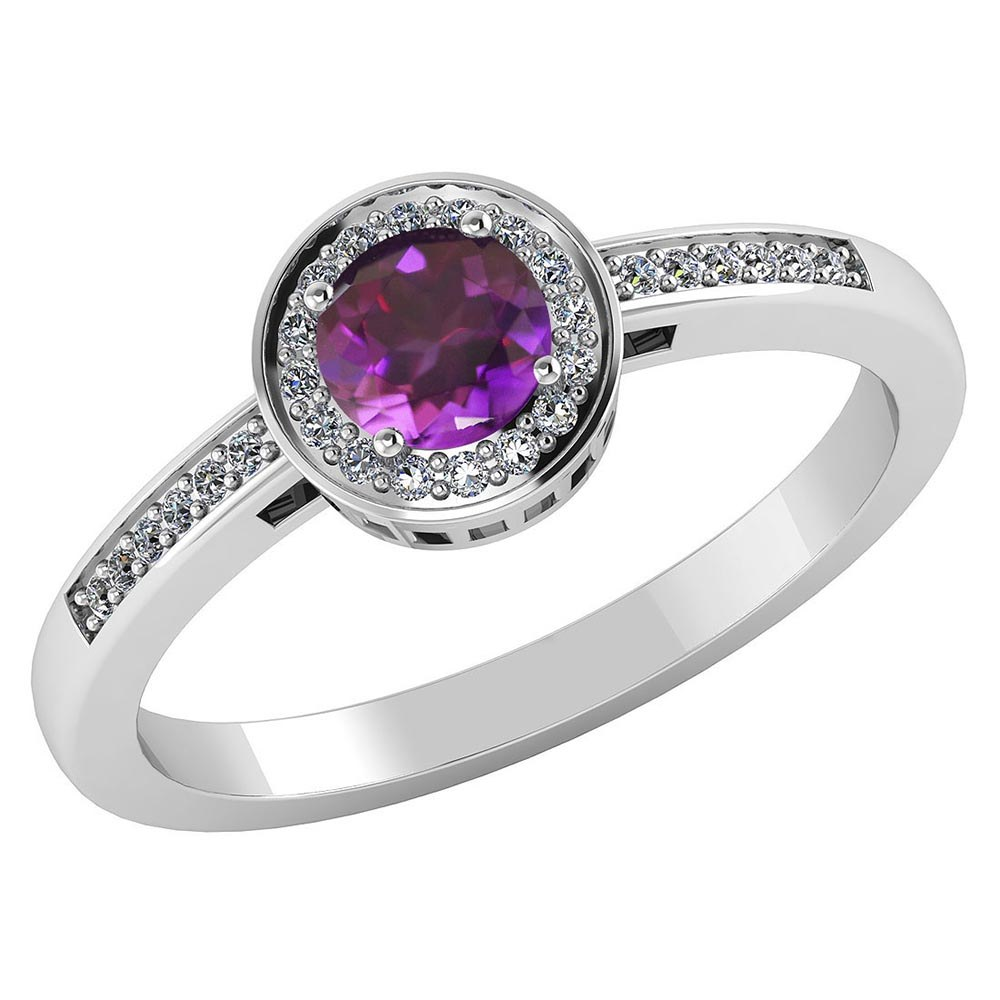 Certified 1.20 CTW Genuine Amethyst And Diamond 14K White Gold Ring #PAPPS91623