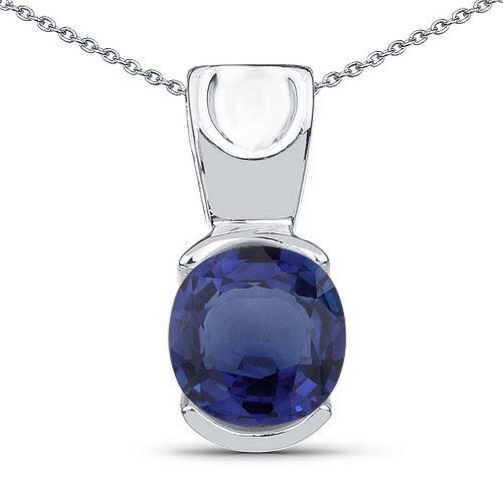 Certified 1.40 CTW Genuine Bule Sapphire 14K White Gold Pendant #PAPPS90911