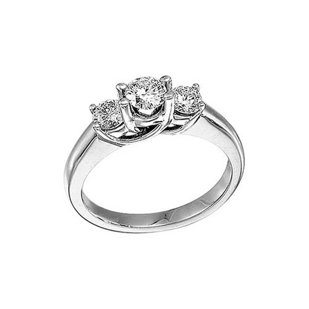 Certified 14k White Gold 1.00 Ct Three Stone Trellis Diamond Ring #PAPPS51436