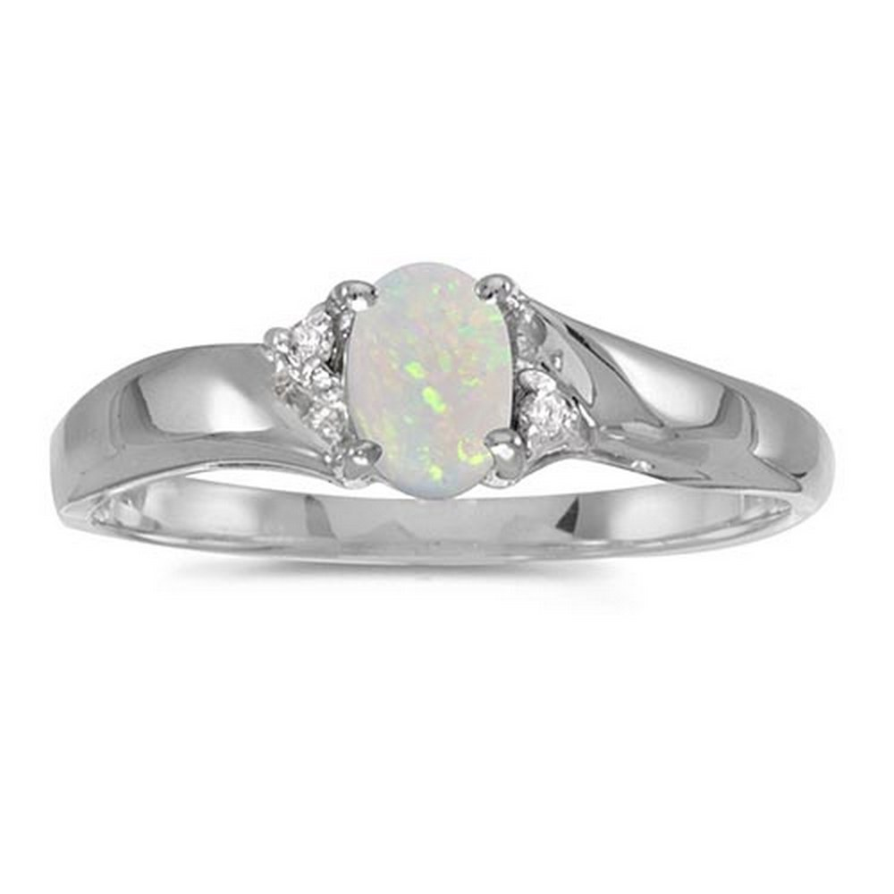 Certified 14k White Gold Oval Opal And Diamond Ring #PAPPS51198