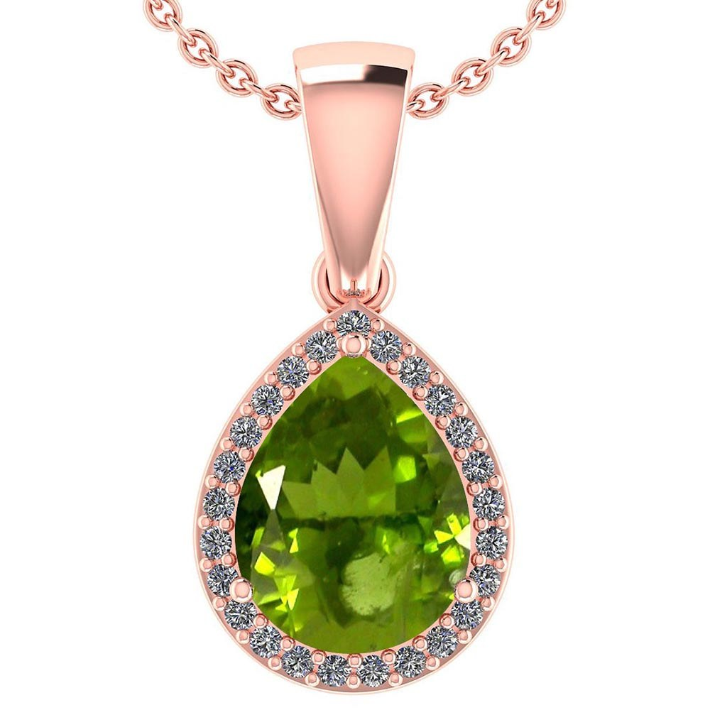 Certified 2.12 Ctw Peridot And Diamond 14k Rose Gold Halo Pendant #PAPPS95400