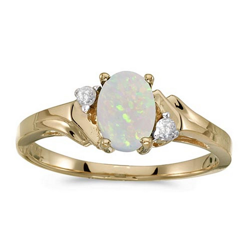 Certified 10k Yellow Gold Oval Opal And Diamond Ring #PAPPS51291