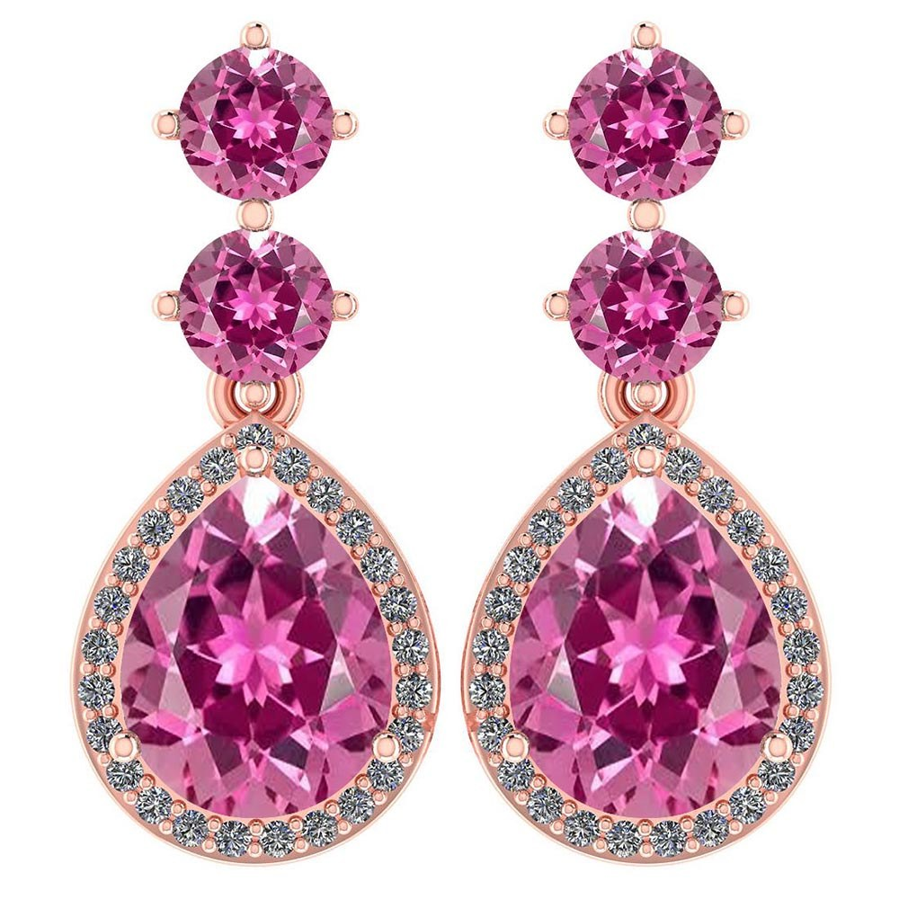 Certified 5.17 Ctw Pink Tourmaline And Diamond 14k Rose Gold Halo Dangling Earrings #PAPPS95348