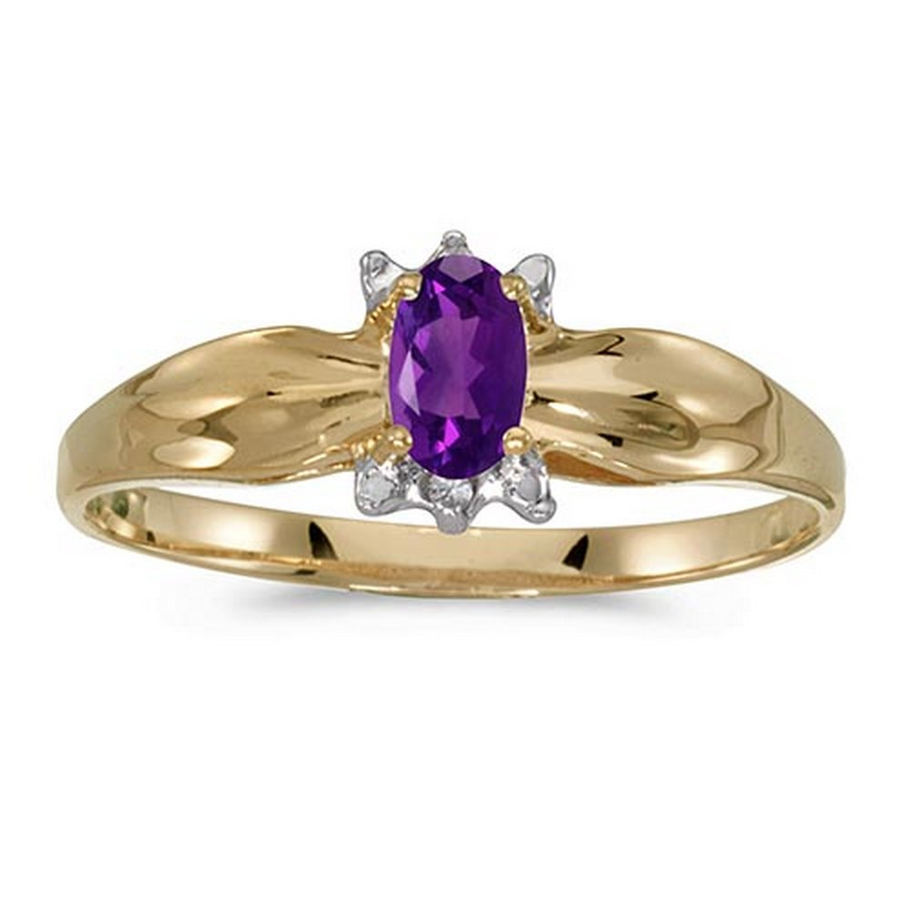 Certified 10k Yellow Gold Oval Amethyst And Diamond Ring #PAPPS51334