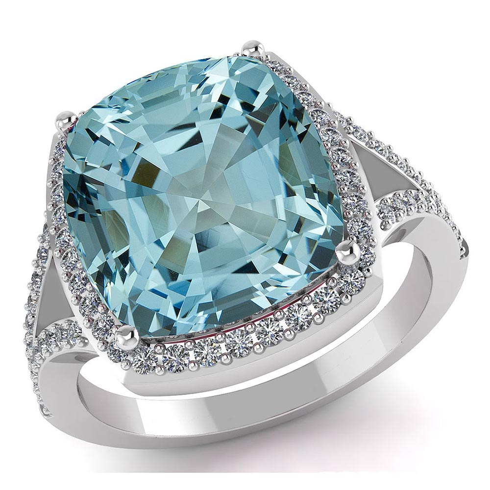 Certified 4.50 CTW Genuine Aquamarine And Diamond 14K W Gold Ring #PAPPS91563