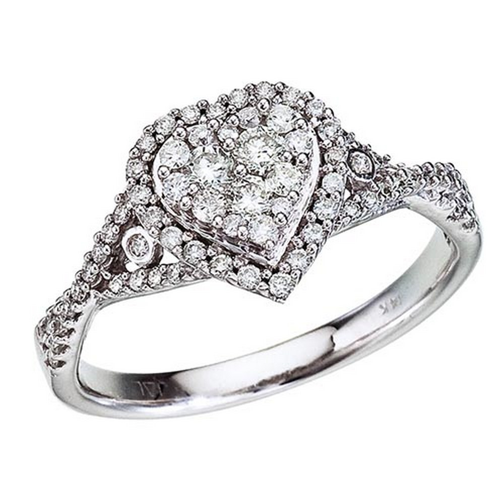Certified 14K White Gold Diamond Clustaire Ring #PAPPS51281