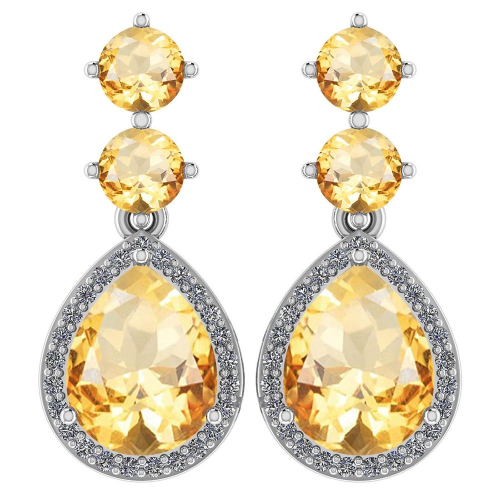 Certified 5.17 Ctw Citrine And Diamond 14k White Gold Halo Dangling Earrings #PAPPS95366