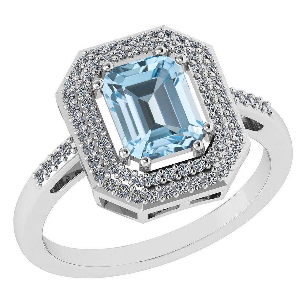 Certified 2.12 Ctw Blue Topaz And Diamond 14k Yellow Gold Halo Ring #PAPPS95306